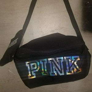 VS Pink lunchbox with can koozie